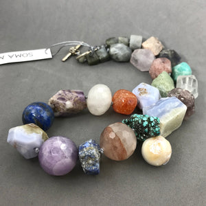 Necklace with lapis, blue lace agate, amethyst, pearl