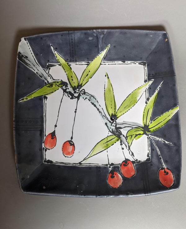 Large Square Tray with Cherry Branch