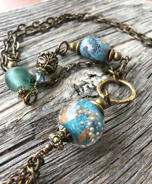 Boho Necklace - Turquoise Glass, Agate, Jade & Crystal