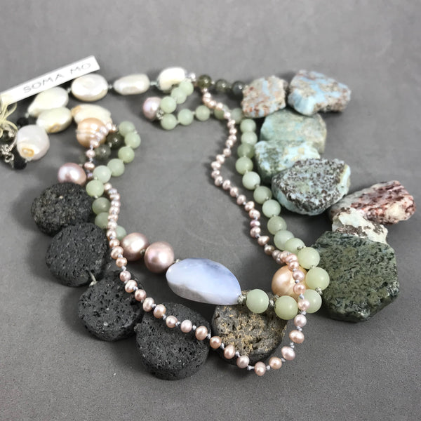 Necklace with amazonite, lava, pearl, jade