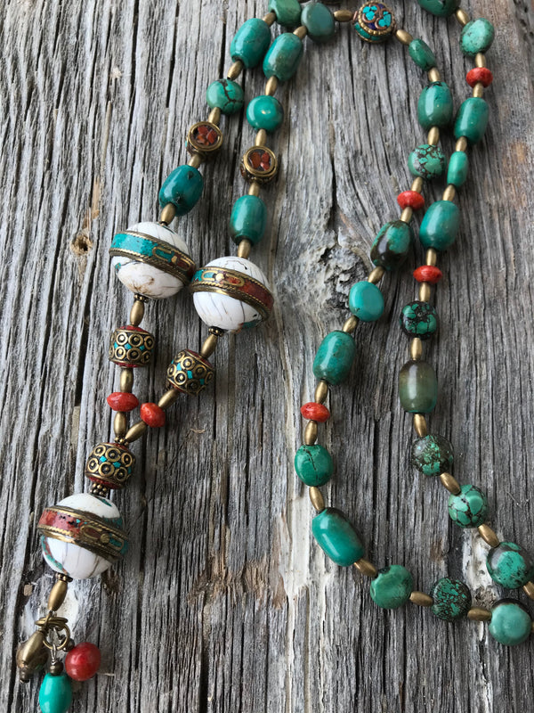 Boho Necklace, Tibetan Brass, Turquoise, Conch Shell & Sponge Coral