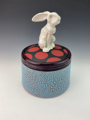 Rabbit Pot with White Rabbit and Red Spots