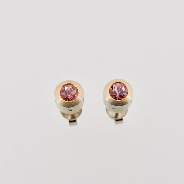 White and Pink Gold Ear Studs with Imperial Topaz & Diamonds