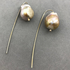 Earrings, silver & baroque pearl