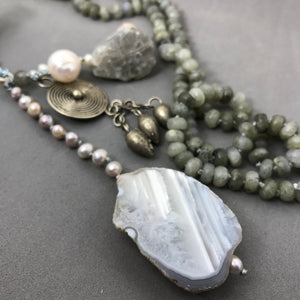 Necklace with labradorite, freshwater pearls, jade & agate beads