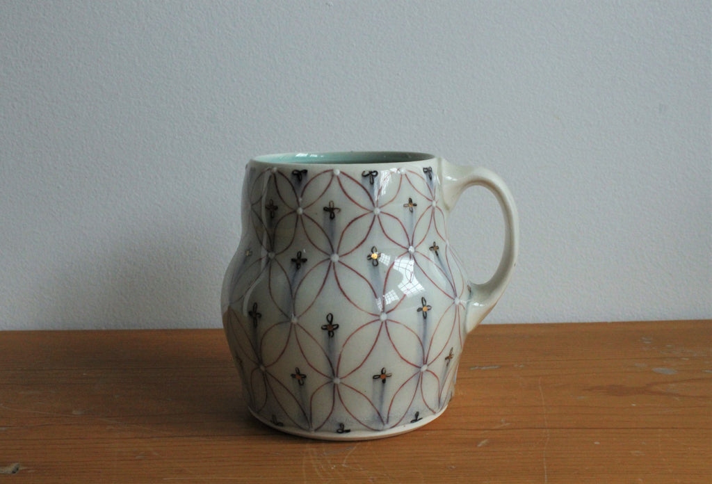 Patterned Mug w/ Gold Accent