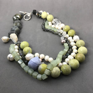 Necklace with jade, labradorite, jasper, & freshwater pearl