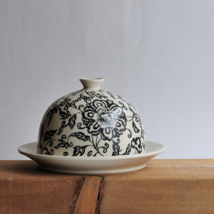 Butter Dish - Black Floral