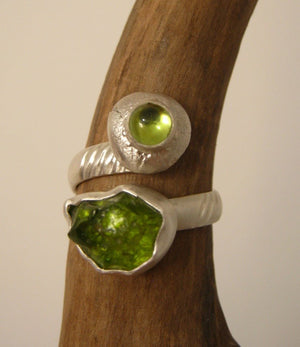 Peridot (Rough and Cabochon) Ring
