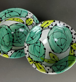Turquoise Roses Bowl