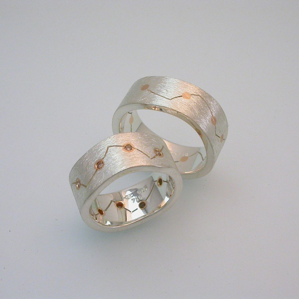 Silver Ring w pink gold inlay