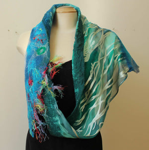 Nuno Felted Silk and Wool Scarf