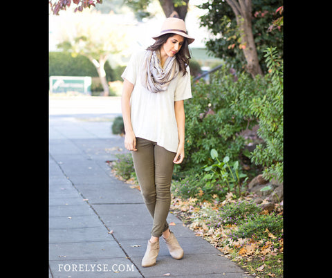 Olive green pants with tan booties