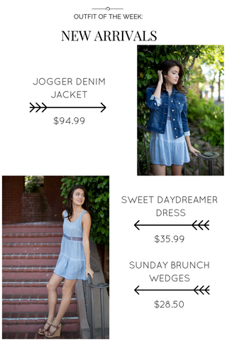 Denim jacket and Sweet Day Dreamer dress