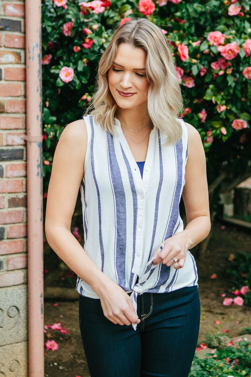 Women's White and Blue Striped Tank Top