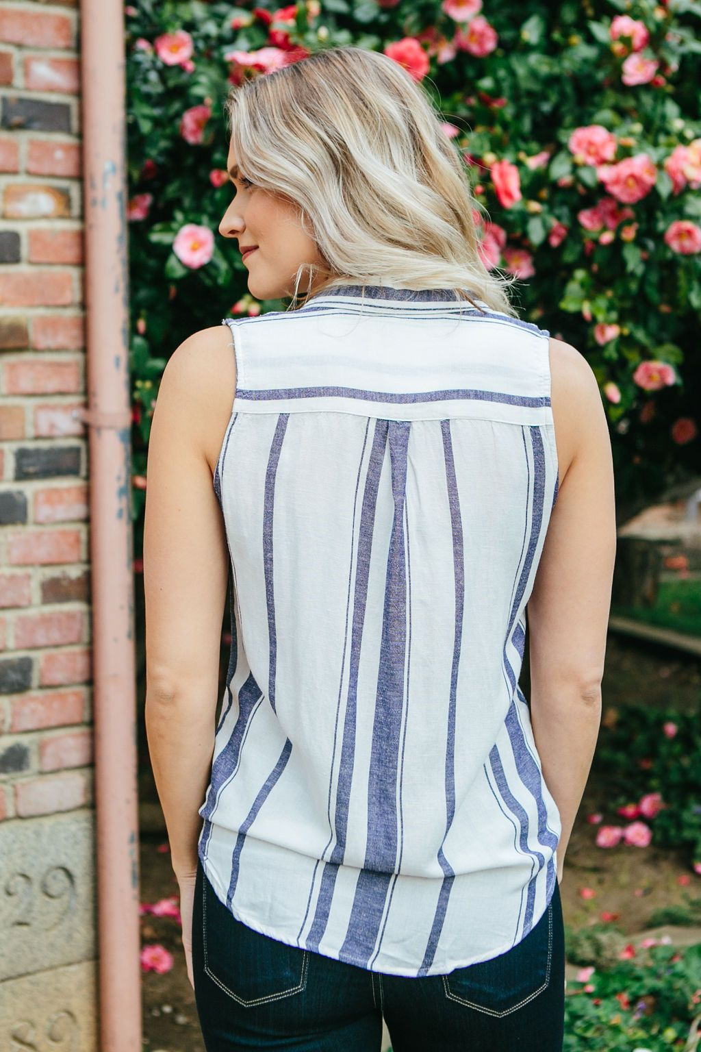 Women's White and Blue Striped Tank Top Collared