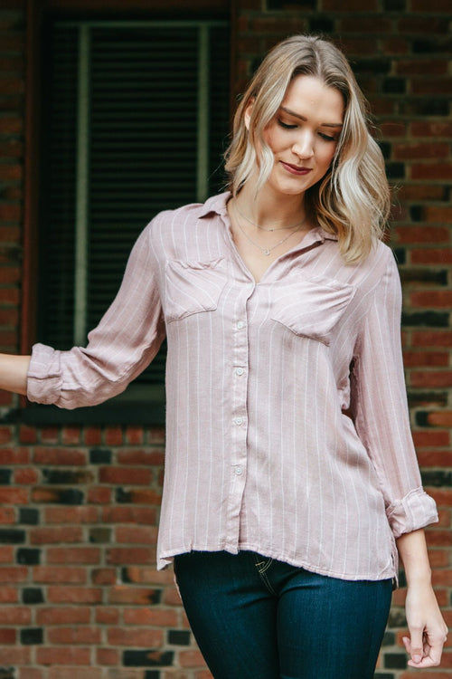 Women's Blush Striped High Low Flannel Top