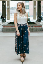 Women's Navy Blue Wide Leg Floral Pants