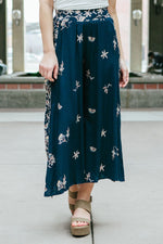 Women's Navy Blue Wide Leg Floral Pants Boho