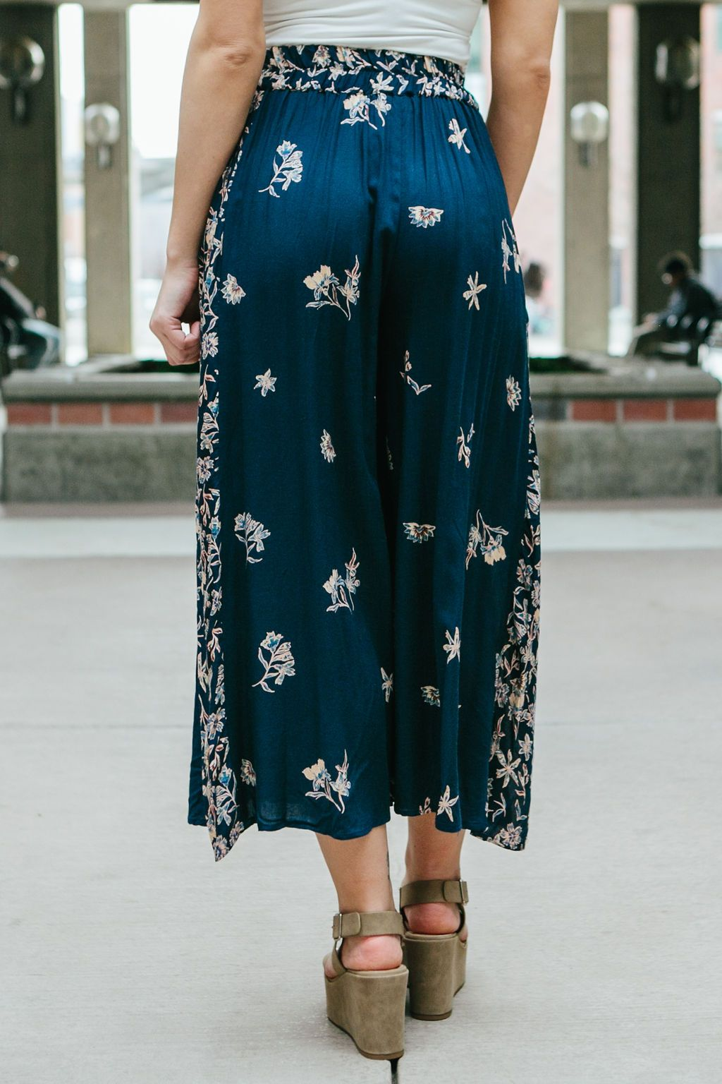 Women's Navy Blue Wide Leg Floral Pants Culottes