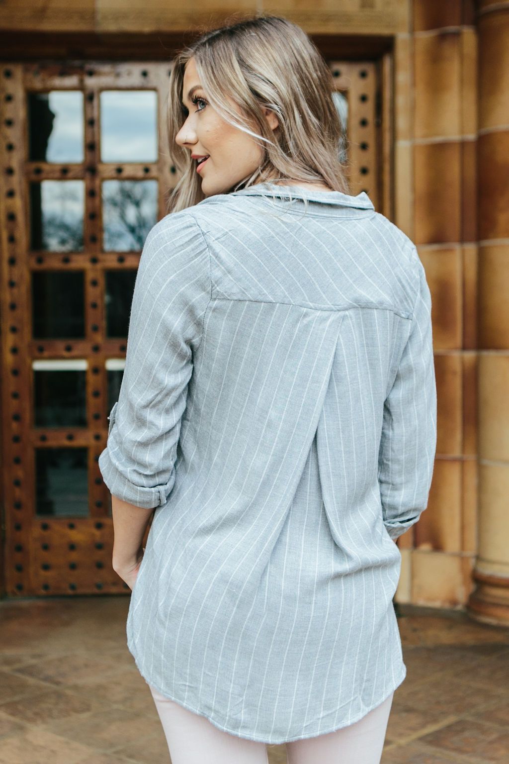 Women's Grey Striped High Low Flannel Top