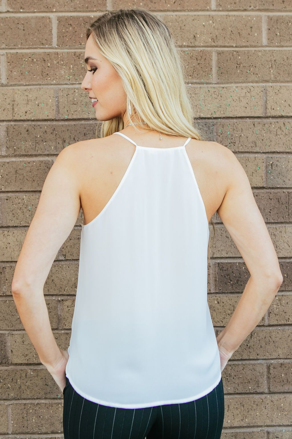 Women's White Loose Overlapping Neckline Tank Top