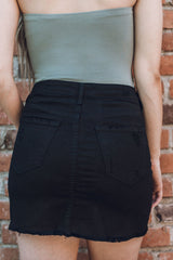 Isabella's High Rise Black Denim Skirt