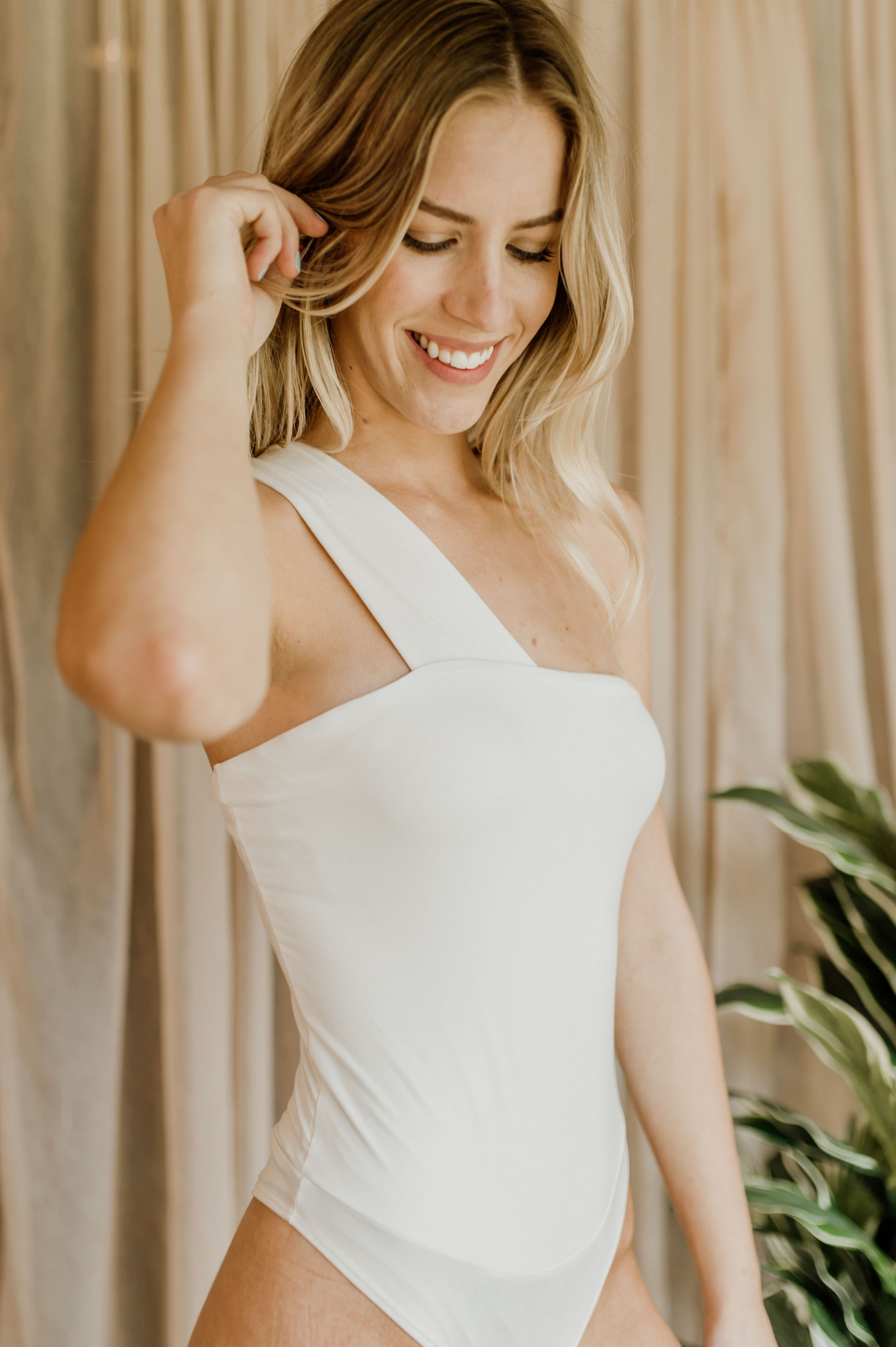 Free Falling One-Shoulder Bodysuit