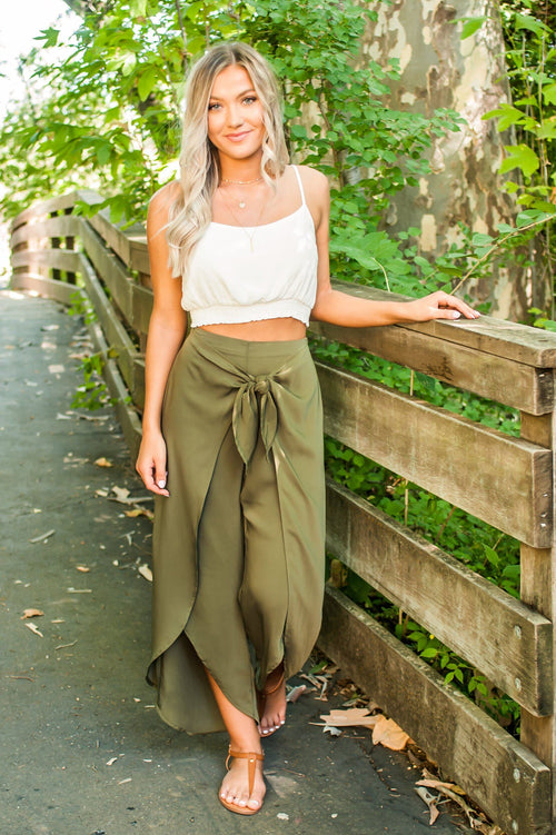 Women's Wide Leg Flowy Olive Green Wrap Style Pants