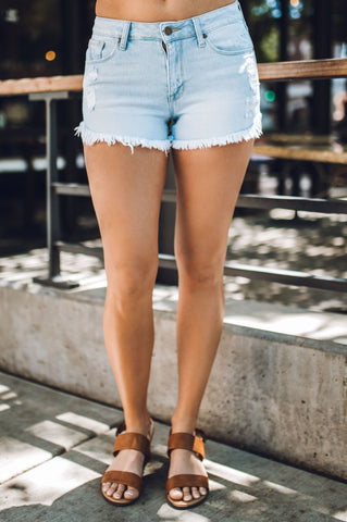 Light Wash Gemma Midrise Cut Off Shorts