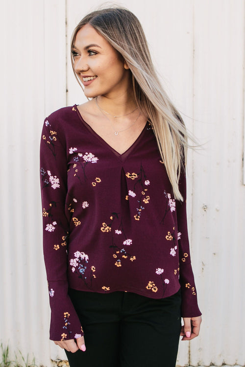 Women's Wine Colored Floral Print Bell Sleeve Blouse