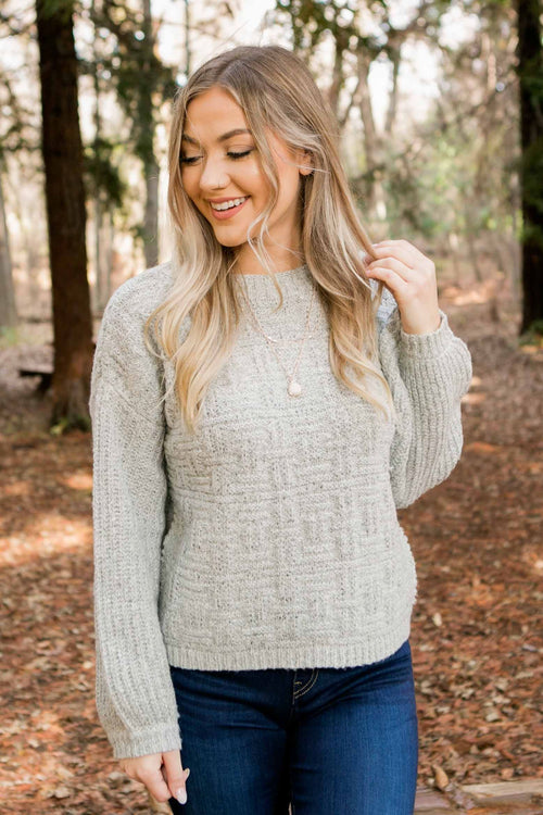 Women's Ultra Soft Grey Knit Sweater