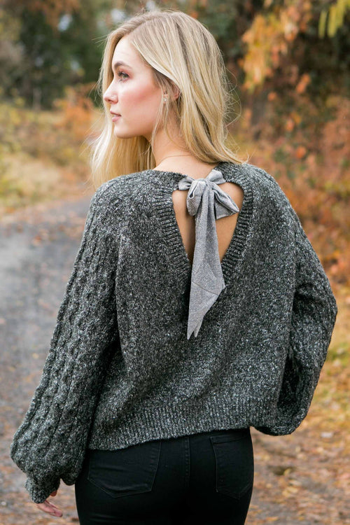 Women's Gray Chunky Knit Open Back Sweater