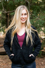 Women's Ultra Soft Black Fuzzy Zip Up Trending Hoodie