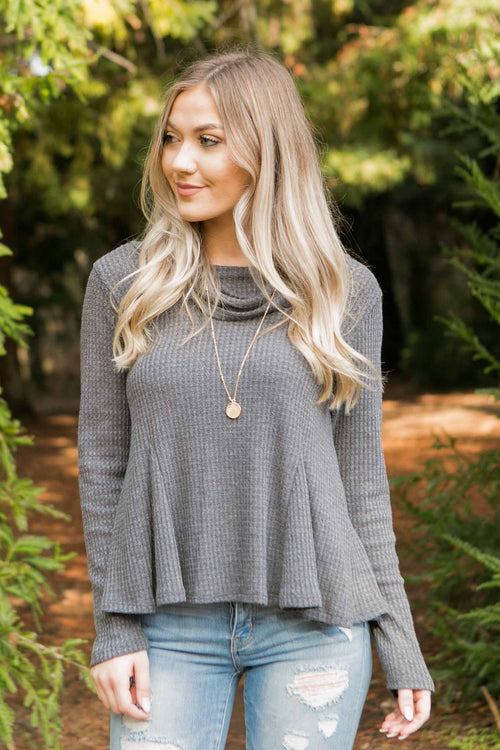 Women's Grey Waffle Knit Cowl Neck Long Sleeve Top