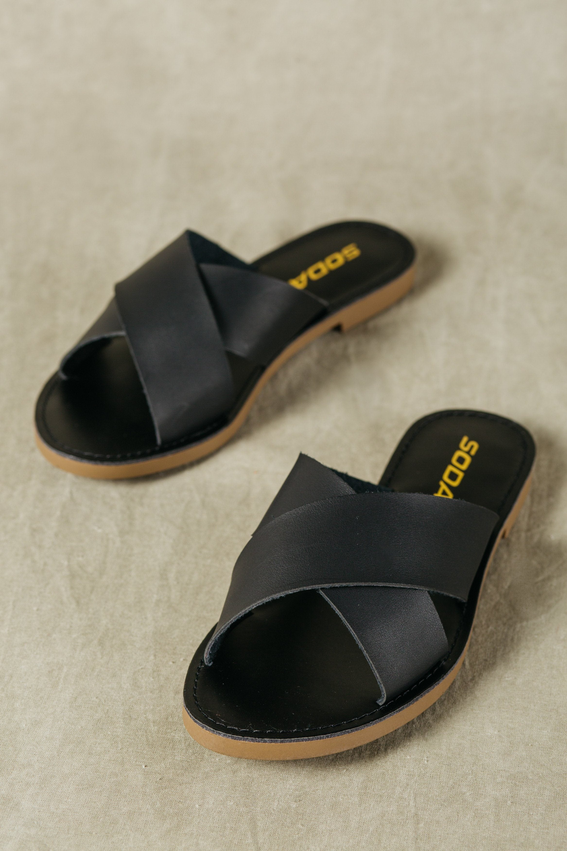 Black faux leather cross strap flat sandals lunacy soda