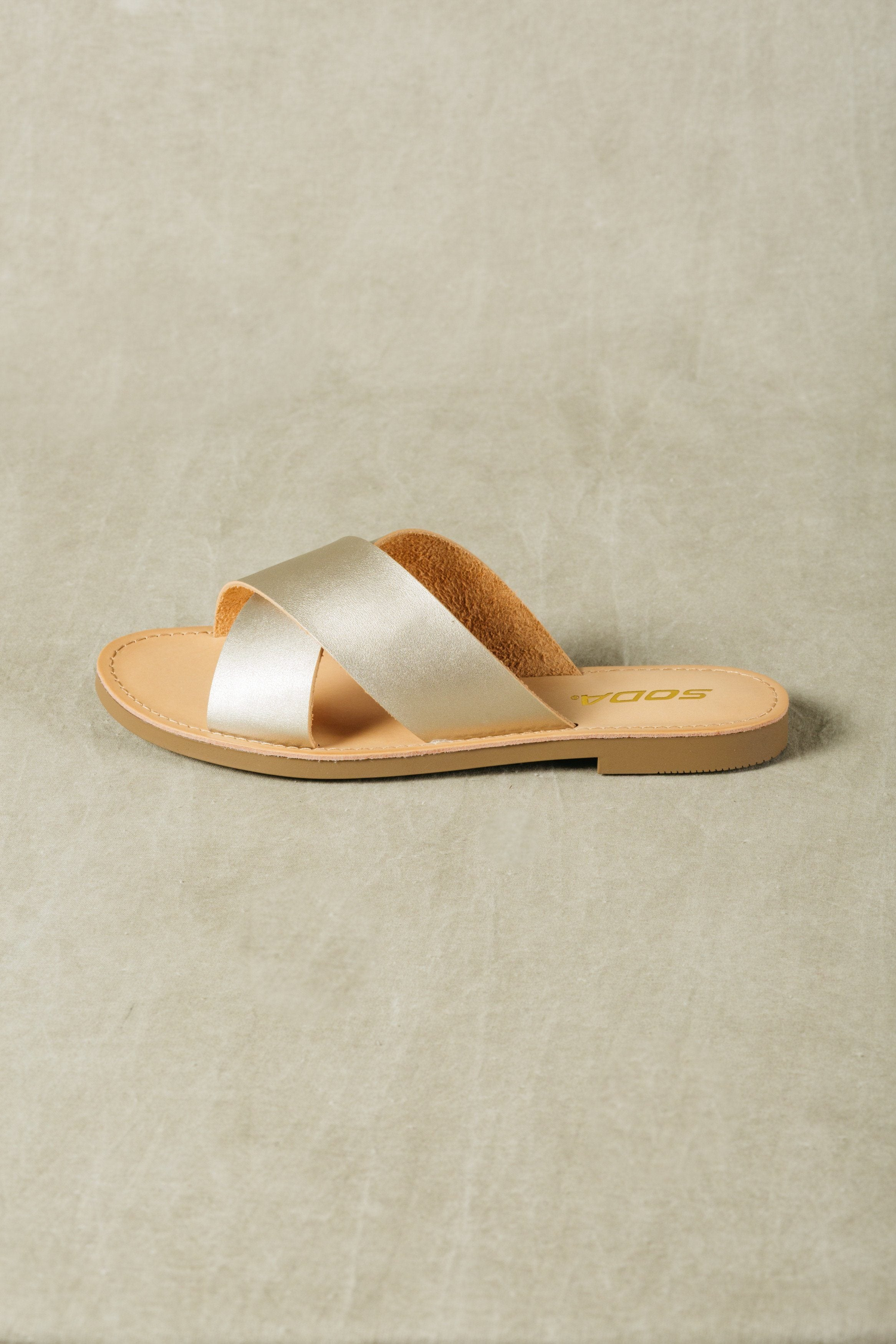 Gold faux leather cross strap flat sandals lunacy soda