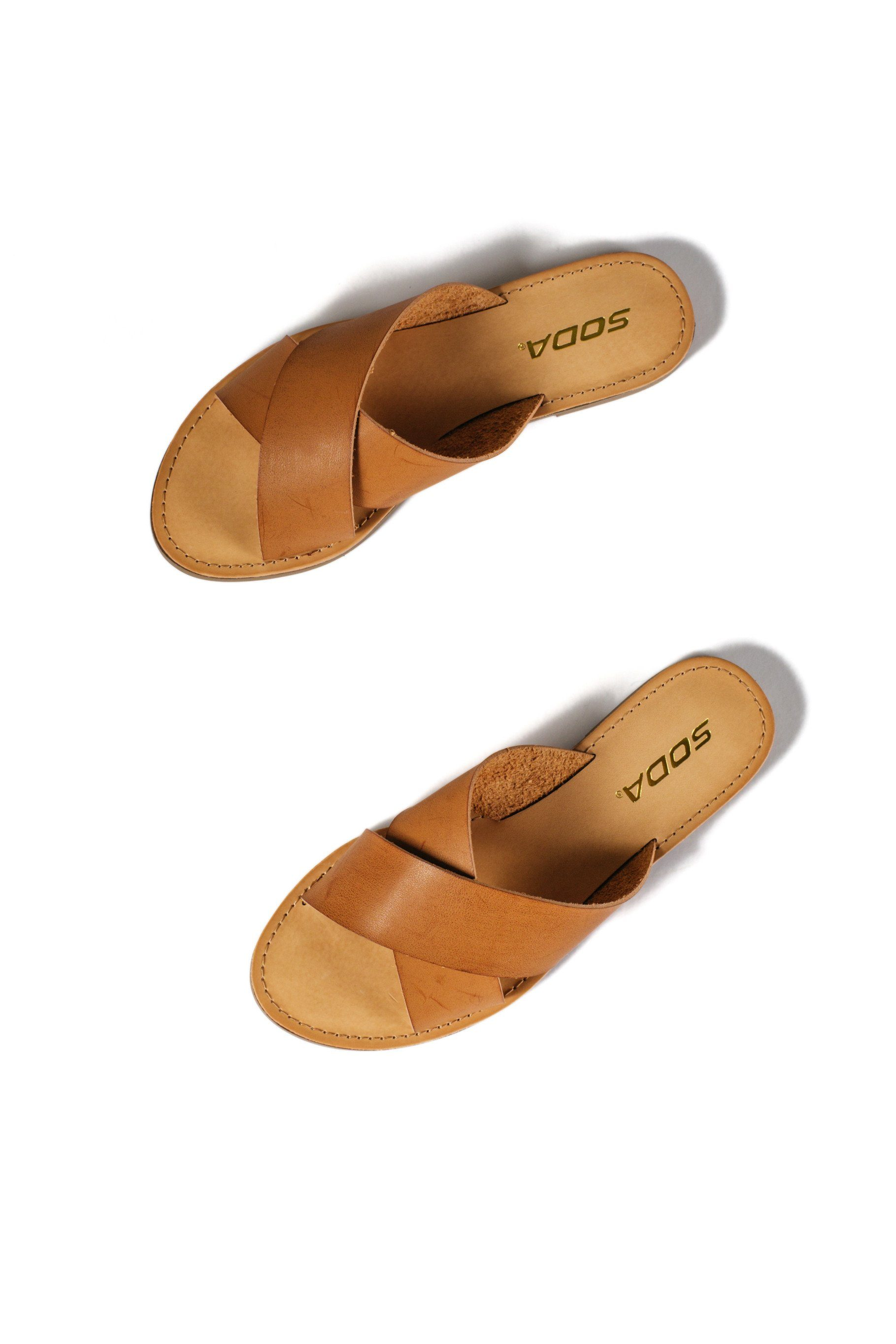 Tan faux leather cross strap flat sandals lunacy soda