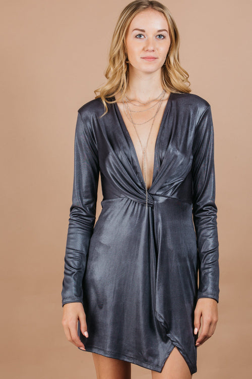 Knotted front long sleeve party dress with stretchy shimmer charcoal fabric and deep v-neckline
