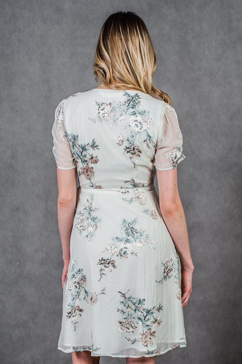 Floral silk knee-length lined wrap dress