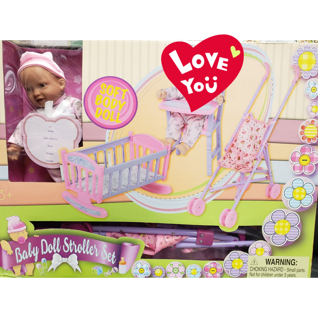 Black Baby Doll Stroller Set