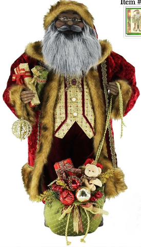 "African American Santa Claus - 36"" Ol' World Tradition Black Santa Claus Christmas Figurine"