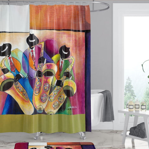 Jazz Sax Men African American Shower Curtain