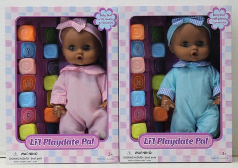 Li'l Playdate Pal African American doll with blocks