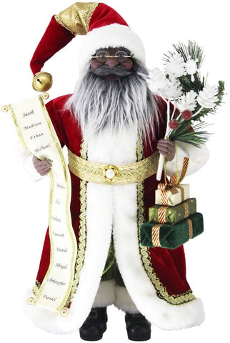 "African American Santa Claus - 16"" Name List Black Santa Claus Christmas Figurine"