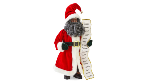"African American Santa Claus - 36"" Wish List Black Santa Claus Christmas Figurine"