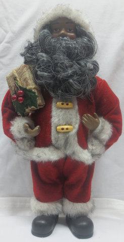 "Santa Claus - 12"" African American Santa Claus in Red with gift"