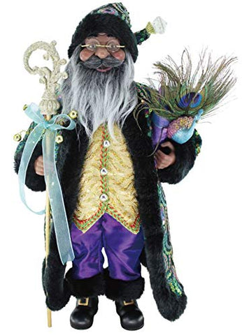 "African American Santa Claus – 16"" Stunning Sequin Black Santa Claus Christmas Figurine"