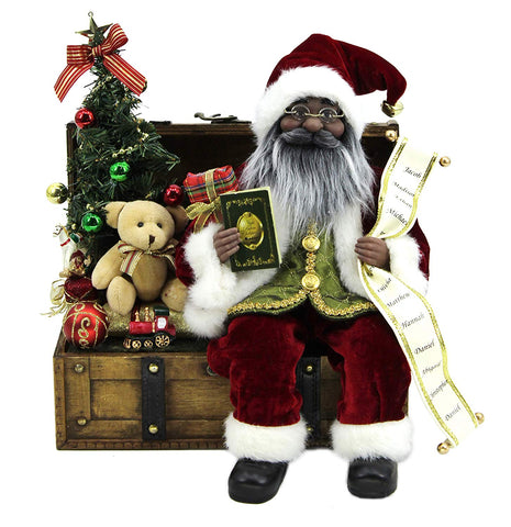 "African American Santa Claus – 13x13x12"" Sitting Santa on Chest Black Santa Claus Christmas Figurine"
