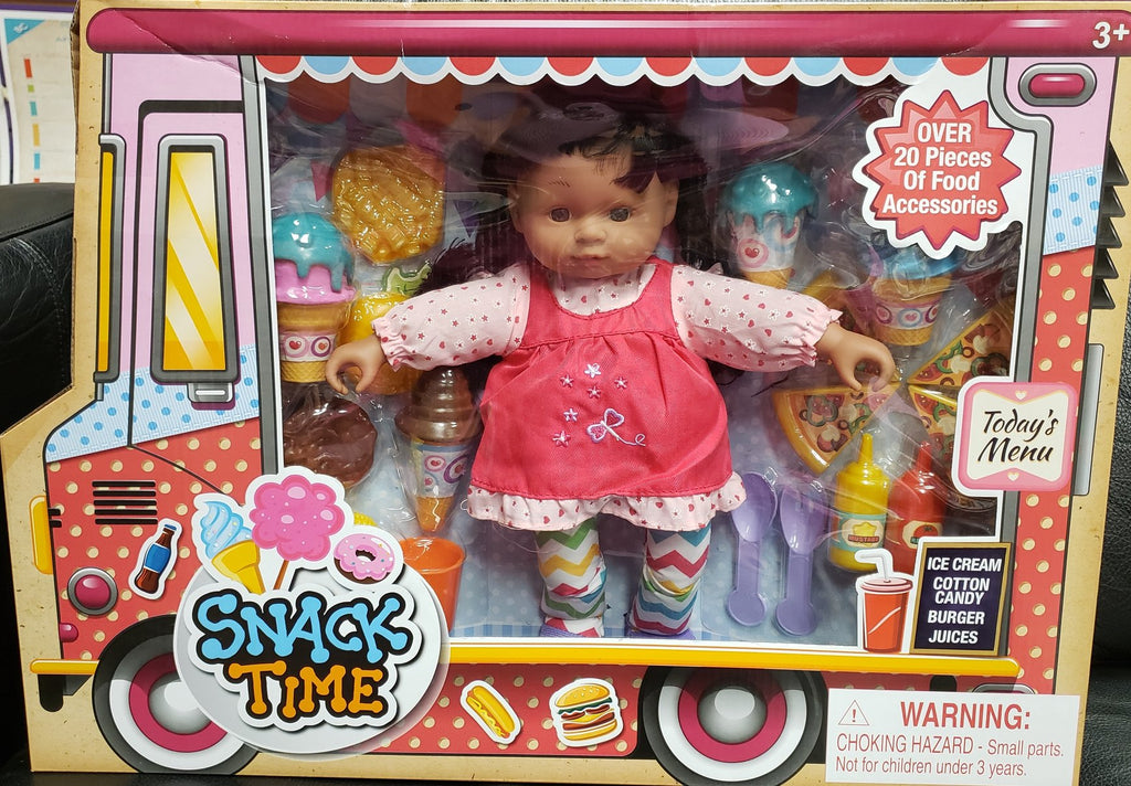 Snack Time Afrocentric doll with over 20 pieces of food accessories